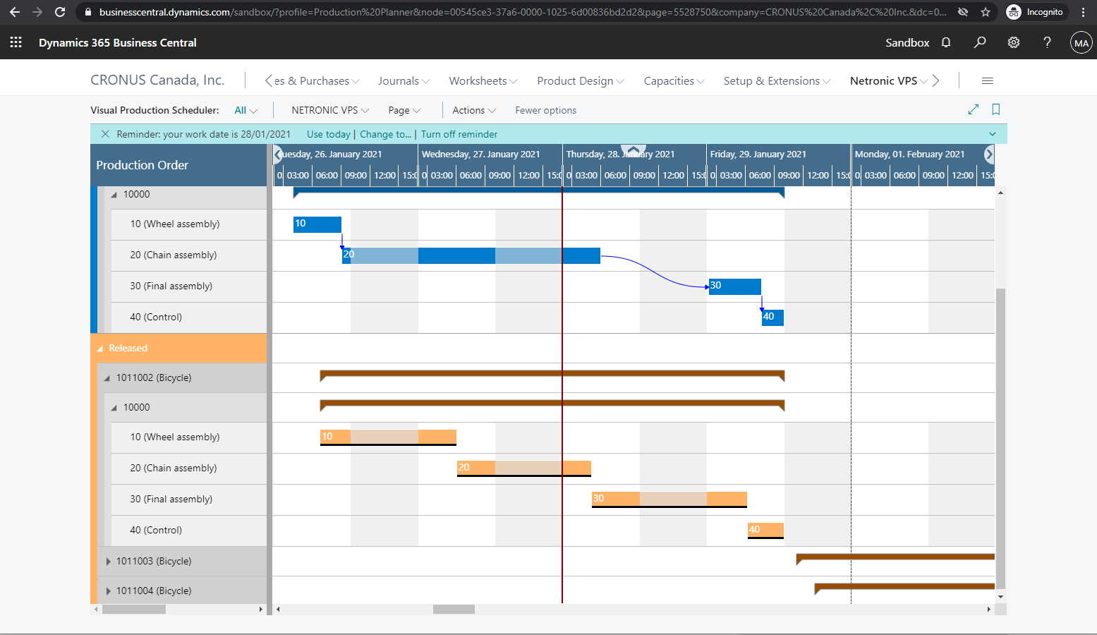 Business Central manufacturing orders presented in Netronic Visual Production Scheduler