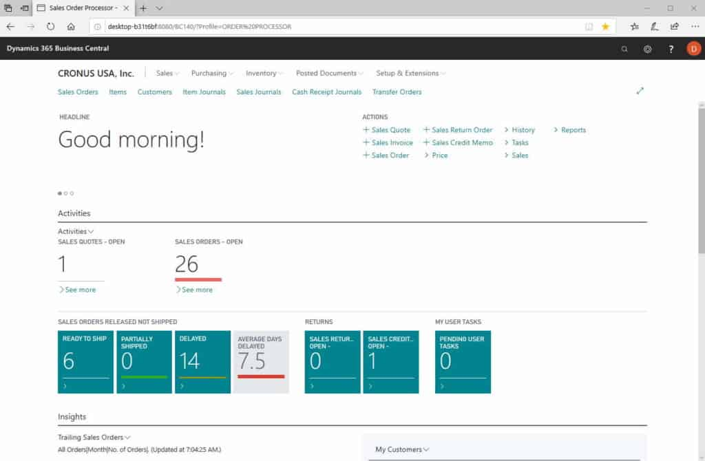 Microsoft Dynamics Business Central Modern Client, significantly different from Microsoft Dynamics NAV