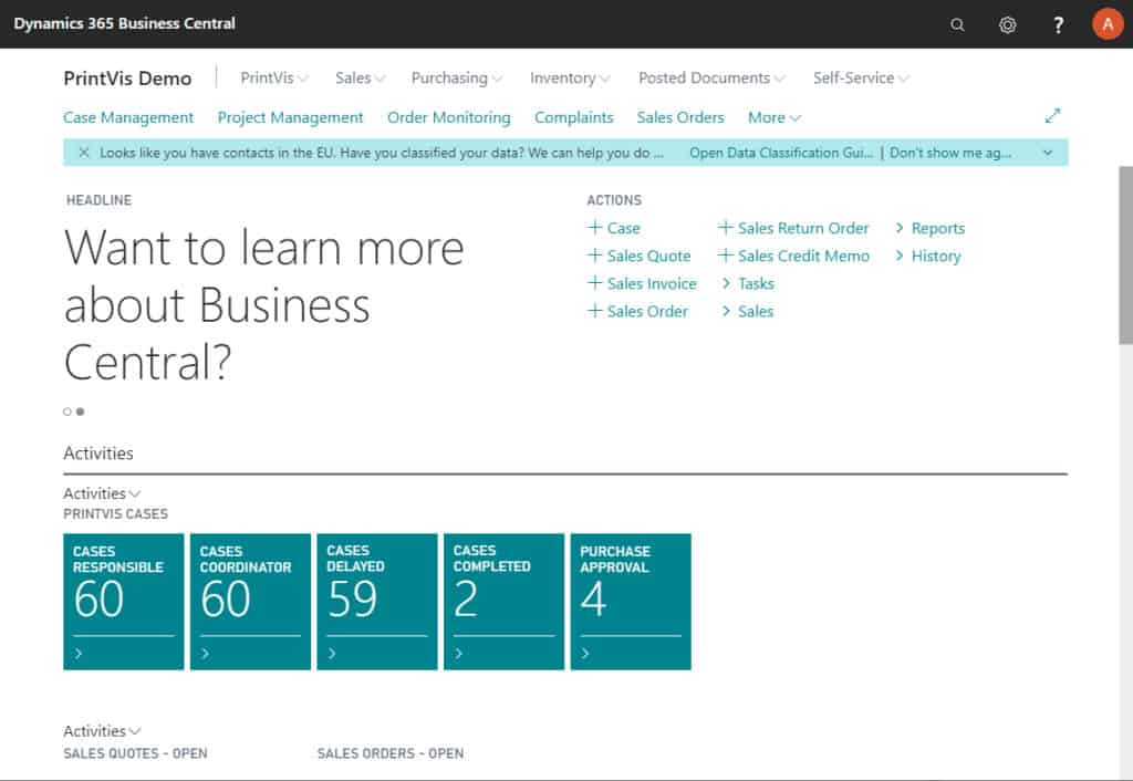 Print MIS | PrintVis running in Dynamics 365 Business Central