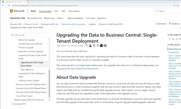 Microsoft docs contains instructions to upgrade Dynamics NAV to Business Central.